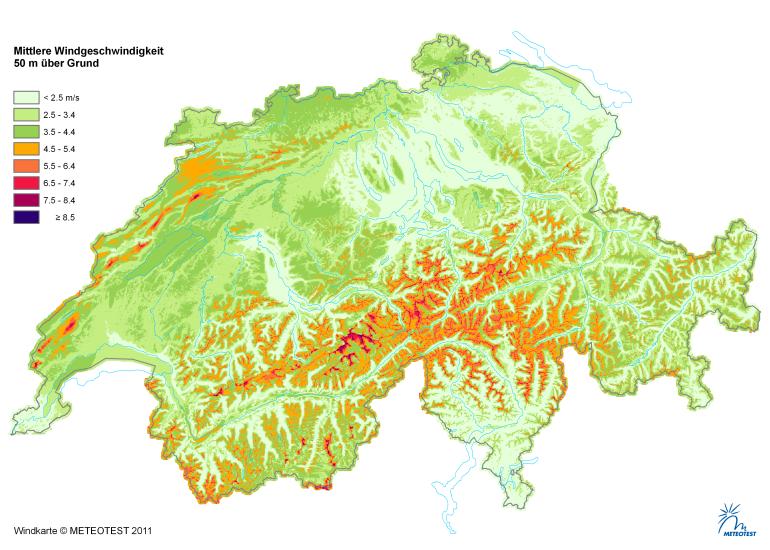 Windzonenkarte (Meteotest, www.wind-data.ch)